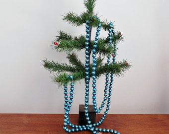 Blue Mercury Glass Japan Christmas Garland 7 1/2 Feet Long Medium Balls with Cardboard Circle Ends