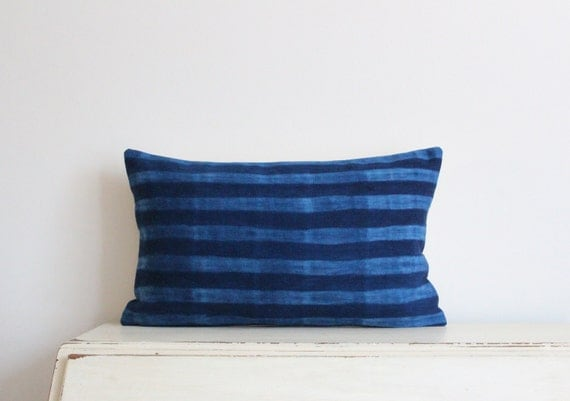 "Indigo Shibori pillow cushion cover 12"" x 20"""