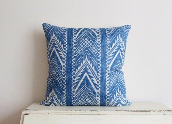 """Block printed chevron pillow cushion cover 20"""" x 20"""" in denim blue"""