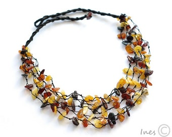 Adult Amber Necklace, Baltic Amber Multi Color Bead Necklace
