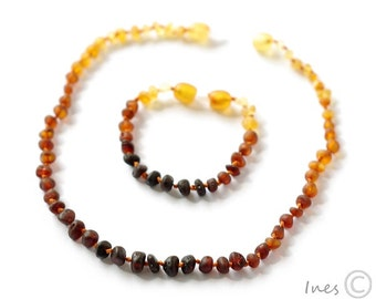 Raw Unpolished Amber Teething Necklace and Bracelet/Anklet, Baltic Amber Baby Set, Rounded Rainbow Color Beads