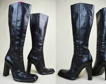 90s Grunge Goth Avant Garde Minimalist Black Leather Sculptural Slanted Chunky Heel Square Toe Knee High Boots UK 4 / US 6.5 / EU 37