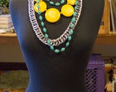 80s Group of Vintage Necklaces Chunky Silver Chain Turquoise Beaded Yellow