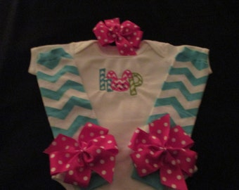 Ready to Ship Baby Girls Easter Outfit Hop Onesie Leg Warmers and Headband with Removeable Hairbow Size 6-12 Months