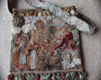 Gypsy Tapestry Over Sized Bag Renaissance Arbor Scene Vintage Needlepoint Bag Ethnic Tribal Tasseled Vagabond Beauty