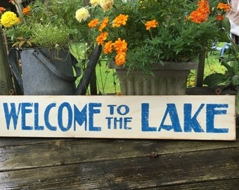 Welcome to the Lake hand painted blue and white rustic,custom color distressed beach, cottage lake house wooden sign