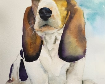 basset hound print , basset hound  painting, dog portrait, dog art, dog memorial, pet loss gift, pet memorial, basset