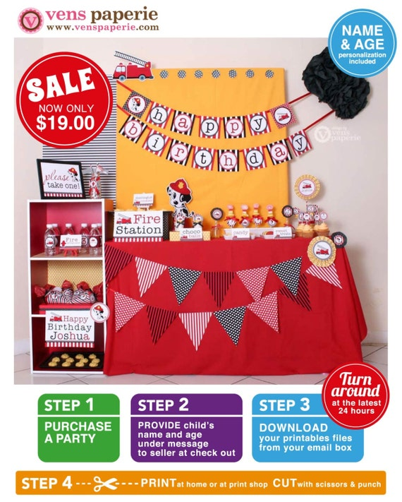 Dalmatian Fire Fighter Birthday Party Package Personalized FULL Collection Set  - PRINTABLE DIY - PS814CA1x