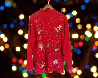 Ugly Christmas Sweater Tacky Christmas Sweater Holiday Sweater Red Sweater Kitschy Christmas  Mock Neck Sweater Hipster Clothing Clothes