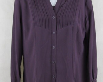 Jm Collection Long Blouse Sleeve Size Top Button Sz Womens S Purple Floral Shirt Women Front Linen 18 Misses Nwt Purple Vintage Retro Tops