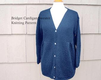 Women's Cardigan Sweater Knitting Pattern, Three Quarter Sleeve, Gathered Pleats, V Neck, Size XS-XXL