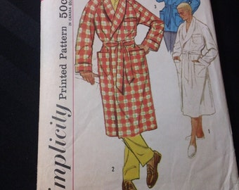 Simplicity Pattern 2312 ~ Men's Robe and Lounge Jacket ~ Vintage Mid-Century Cut Mens' Loungewear Medium Chest 38in-40in Sewing Pattern