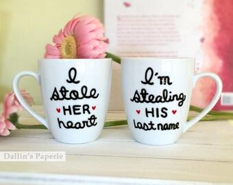 Personalized mug, Engagement Gift Mug, couple mugs, Hand painted, Bridal shower gift, latte mug, gift mug set