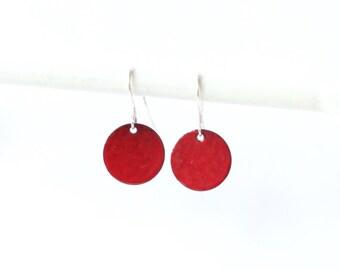 Bright Red Earrings - poppy red round enamelled mini dangle earrings - vibrant red jewelry gift - enamel Jewellery for wife