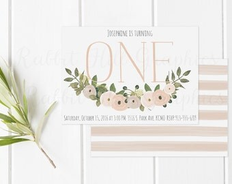 ONE 1st birthday First Birthday Invitation, Boho birthday invitation, Girl birthday, Baby girl, Pink, Green, Watercolor flowers, Pastel