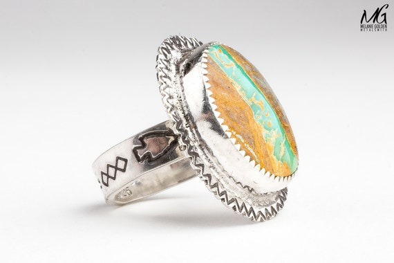 Green and brown royston ribbon turquoise gemstone ring in for Royston ribbon turquoise jewelry