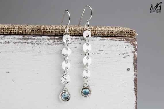 Long Sterling Silver earrings with Swiss Blue Topaz gemstones - long chain earrings - gypsy jewelry - Aqua blue dangle earrings