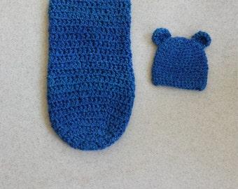 Crochet Bear Cocoon - Photography Prop, Bear Hat, Bear Beanie, Crochet Cocoon, Baby Photo Prop, Baby Boy Bear, Boy Bear Hat