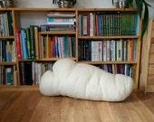Felt wool seamless pillow LONG WHITE CLOUD, handmade textile art, soft sculpture & home decor, unique cushion for sofa or floor, natural