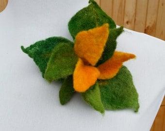 Brooch - felt flower - YELLOW GREEN FLOWER - felted brooch pin, hair clip, merino wool, handmade, hat, scarf, bag flower adornment, ornament