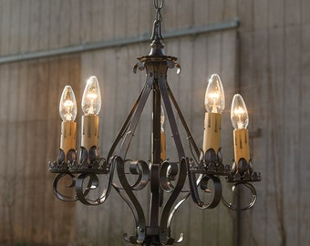 Iron Chandelier, FREE SHIPPING-Antique Iron Chandelier, Antique Lighting, Vintage Chandelier, Vintage Lighting, Vintage Style Antique Light