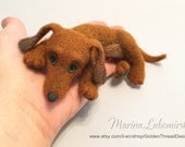 Dachshund Puppy, Needle Felted Dachshund, Brown Dog, Puppy, Animal Toys, Custom Order by Marina Lubomirsky