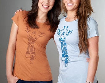 GIRAFFE Shirt, Womens T-shirts, Bamboo Organic T shirt, Organic Clothing, Eco Clothing, Womens Tee Shirt, Womens Tshirt