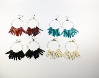 Large Coconut Stick Earrings - Gold Silver 4 Colors to Choose From Gift for Her Custom Black Red Aqua White