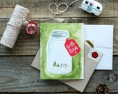 Hand-painted Mason Jar Holiday Card with Custom Tag