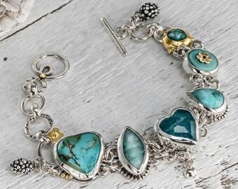 Turquoise Bracelet, Turquoise Link Bracelet, 22k Gold & Silver, Gemstones Bracelet, Turquoise Jewelry, December birthstone, Artisan bracelet