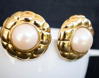 MASSIVE VINTAGE PEARL clip earrings