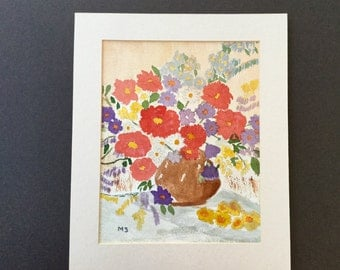 1980s Still Life Painting of a Vase of Flowers Signed MS Original Art Wall Hanging Home Decor