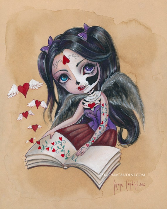 Love Spell LIMITED à tirage signé numéroté Simona Candini lowbrow la deads ventru sucre skully fille art gothique amour Saint Valentin