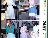 Apron Sleeve Covers and Garters Sewing Pattern Half Aprons Ruffle Hem V Yoke All Sizes UNCUT
