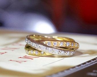 Vintage Tricolor Diamond Trinity Band Vintage 18K Gold Eternity Ring Rose Yellow White Gold Anniversary Wedding Band Alternative Engagement