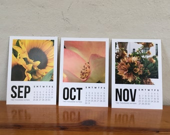 Flower Calendar September to August 2016-2017 Modern Clipboard art, two gifts in one as photos can but cut and framed, teacher gift
