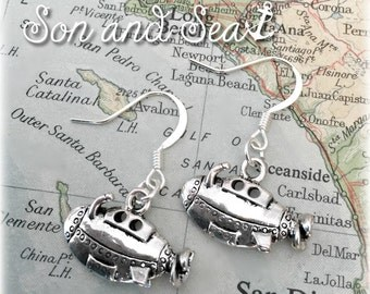 US Navy submarine earrings by Son and Sea FREE US shipping