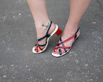 Vintage red, white, blue sandals, patent leather shoes heels, 1960s, 10