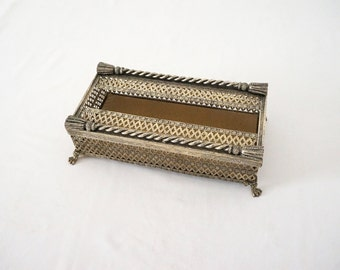 Pierced Metal Silver Tone Vintage Tissue Box // Mid Century Hollywood Glamour