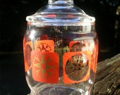 Vintage Orange and Gold Modern Apothecary Jar - Small Glass Retro Display Container