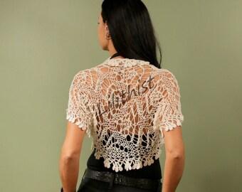 Ivory Wedding Shrug, Crochet Shrug, Knit Bolero, Ivory Bolero, Crochet Lace Shrug,  Bridal Shrug Bolero, Lace Bolero, Knit Loose Shrug