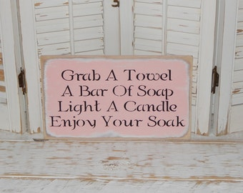 Bathroom Sign Powder Room Country Cottage Chic RelaxationSign