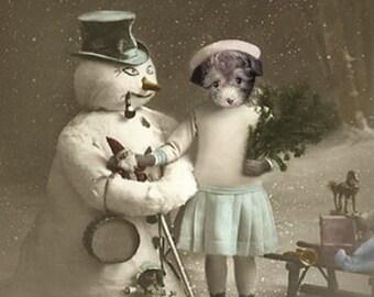 Bridgette's Snowman, Christmas Decor, Dog and Snowman Print, Anthropomorphic, Whimsical Holiday Decor, Vintage Snowman Cards