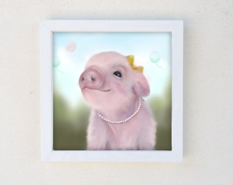 Pig Print, Baby Girl Nursery, Farm Animal, Kids Wall Art, Framed Canvas Print