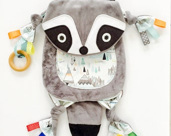 Baby Raccoon Minky Blanket Animal Lovey Toy Pacifier Buddy