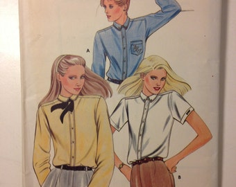 Butterick 3389 Sewing Pattern 70s Uncut Misses Blouse and Monogram Transfer Size 12