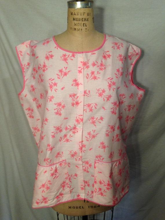 Vintage Pink Floral Smock Apron 1960s Sale sm3