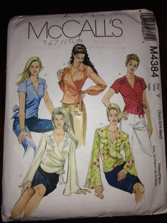 Misses Wrap Front Tops McCalls Sewing Pattern 3227 Size 4-14 Uncut