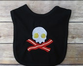 Bacon and Eggs Skull Bib - Skull Baby Clothes - Baby Shower Gift - Funny Baby Clothes - Punk Baby - Goth Baby - Skull and Crossbones Baby