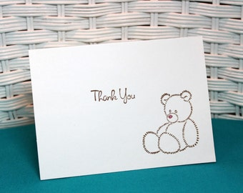 Set of 6 Hand Stamped Teddy Bear Girl Thank You Note Cards